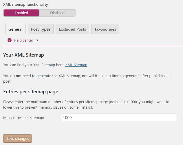 xml sitemap functionality
