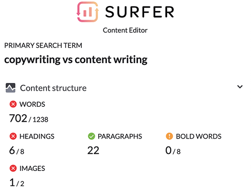 Surfer SEO's content structure showing the number of words. headings, images, etc to use.
