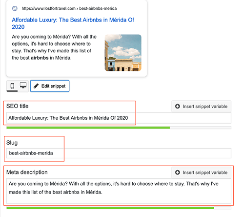 Different fields to fill out in Yoast SEO - SEO title, slug, meta description